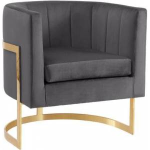 "Meridian Carter Collection 515GREY 29"" Velvet Accent Chair with Channel Tufting  Gold Stainless Steel Base and Contemporary Style in"