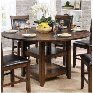 """Furniture of America Meagan II Collection CM3152RPT 65"""" Round Counter Height Table with Transitional Style  Plank Design  Open Bottom Shelf and Tapered Legs in Brown"""