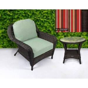 Tortuga Sea Pines Collection LEX-CT1-T-MONS Chair and Side Table Bundle in Tortoise Wicker and Monserrat Sangria Fabric