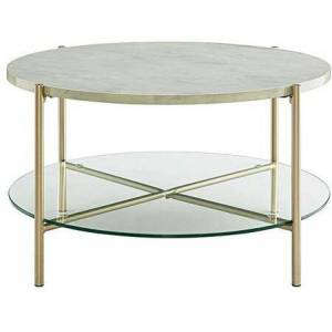"""Walker Edison AF32SRDCTMGD 32"""" Mid Century Modern Round Coffee Table with White Marble Top  Glass Shelf  Gold"""