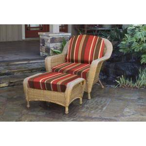 Tortuga Sea Pines Collection LEX-CO1-M-MONS Chair and Ottoman Bundle in Mojave Wicker and Monserrat Sangria Fabric