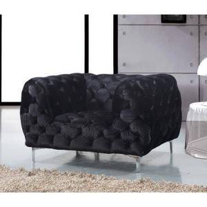 "Meridian Mercer 646BL-C 46"" Chair with Top Quality Velvet Upholstery  Tufting Detailing and Tuxedo Arms in"