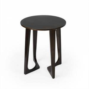 Butler Devin Collection 2040140 Accent Table with Modern Style  Round Shape and Solid Wood in Butler Loft