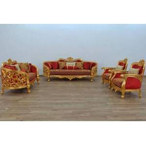 European Furniture Bellagio Collection II Luxury 3 Pieces Living Room Set with 1 Sofa + 1 Loveseat + 1 Living Room Chair  in Red Gold