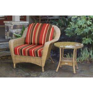Tortuga Sea Pines Collection LEX-CT1-M-MONS Chair and Side Table Bundle in Mojave Wicker and Monserrat Sangria Fabric