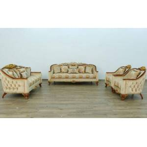 European Furniture Angelica Collection II Luxury 3 Pieces Living Room Set with 1 Sofa + 1 Loveseat + 1 Living Room Chair  in Natural Mahogany and Dark Gold