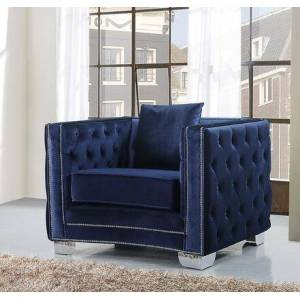 """Meridian Reese 648NAVY-C 42"""" Chair with Top Quality Velvet Upholstery  Unique Curved Design and Silver Nail Heads in"""