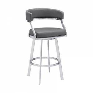 """Armen Living LCSNBABSGR30 Saturn Contemporary 30"""" Bar Height Barstool in Brushed Stainless Steel Finish and Grey Faux"""