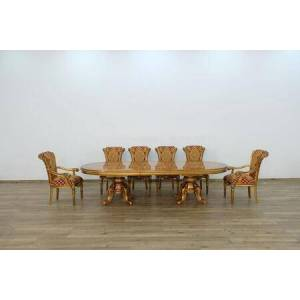 European Furniture Maggiolini Collection Luxury 11 Pieces Set with 1 Dining Table + 2 Arm Chair + 8 Side Chair  in Antique Red Golden Bronze and Natural
