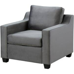 """Glory Furniture Ashley Collection G973A-C 31"""" Chair with Velvet Upholstery  Stitching Details  Track Arms and Block Feet in Gray"""