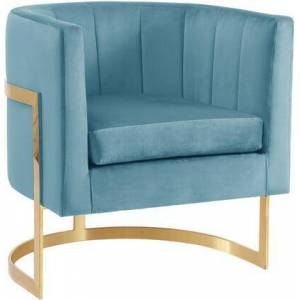 """Meridian Carter Collection 515AQUA 29"""" Velvet Accent Chair with Channel Tufting  Gold Stainless Steel Base and Contemporary Style in"""