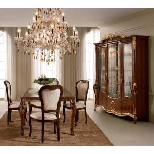 ESF Donatello DONATELLOTABLE-4SC2ACCC 8-Piece Dining Room Set with Table  4 Side Chairs  2 Arm Chairs and China Cabinet in