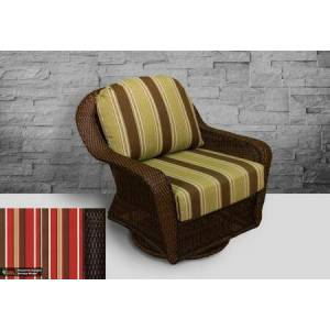 Tortuga Sea Pines Collection LEX-25-T-MONS Swivel Gliding Club Chair in Tortoise Wicker and Monserrat Sangria Fabric