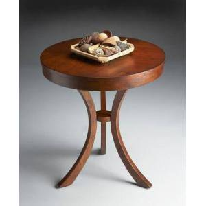 Butler Gerard Collection 7007040 Side Table with Transitional Style  Round Shape  Medium Density Fiberboard (MDF) and Cherry Veneer Material in Umber