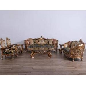 European Furniture Saint Germain Collection II Luxury 3 Pieces Set with 1 Sofa + 1 Loveseat + 1 Chair  in Black Gold