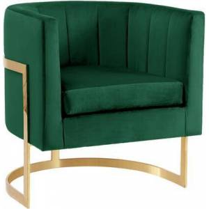 """Meridian Carter Collection 515GREEN 29"""" Velvet Accent Chair with Channel Tufting  Gold Stainless Steel Base and Contemporary Style in"""