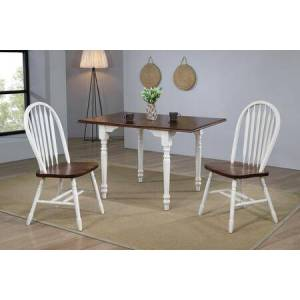 Sunset Trading DLU-ADW3448-820-AW3PC 3-Piece Dining Room Set with Drop-Leaf Extension Dining Table + 2X Dining Chairs  in Antique White with