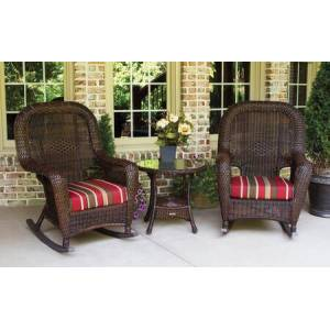 Tortuga Sea Pines Collection LEX-RT3-J-MONS 3-Piece Rocker and Table Set with 2 Rockers and 1 Side Table in Java Wicker and Monserrat Sangria Fabric