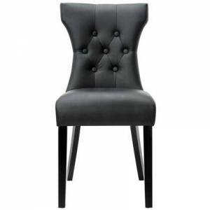 Modway Silhouette Collection EEI-812-BLK Dining Side Chair with Dense Foam Padding  Tapered Legs  Modern Style  Solid Rubberwood Frame and Vinyl Upholstery