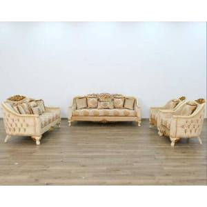 European Furniture Angelica Collection Luxury 3 Pieces Living Room Set with 1 Sofa + 1 Loveseat + 1 Living Room Chair  in Beige and Dark Gold