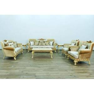 European Furniture Fantasia Collection Luxury Set 3 Pieces with 1 Sofa + 1 Loveseat + 1 Chair  in Gold and Off White