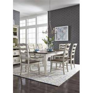 Liberty Furniture Parisian Marketplace Collection 698-DR-7RLS 7PC Rectangular Table Set with 1 Rectangular Leg Table and 6x Ladder Back Side Chair  in Two Tone