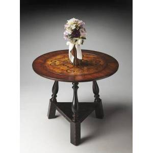 Butler Charlton Collection 2244283 Foyer Table with Traditional Style  Round Shape  Medium Density Fiberboard (MDF) and Poplar Hardwood Solids in Black and