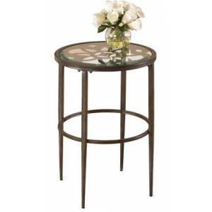 "Hillsdale Furniture 5497-880 Marsala 17.25"" Round End Table with Glass Top  Laser Cut Design  Metal Construction  Grey Base and Brown Rub"