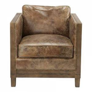 Moe's Home Collection Darlington Collection PK-1030-03 Club Chair with Solid Rubberwood Frame in Brown