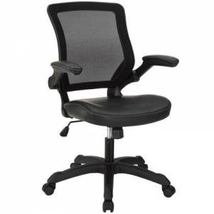 Modway Veer Collection EEI-291-BLK Office Chair with Pneumatic Height Adjustment  Flip-Up Arms  Tilt Tension Control  Breathable Mesh Back and Vinyl Seat