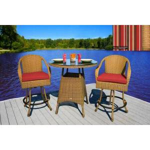 Tortuga Sea Pines Collection LEX-BAR3-M-MONS 3-Piece Bar Set with 2 Bar Chairs and 1 Bar Table in Mojave Wicker and Monserrat Sangria Fabric