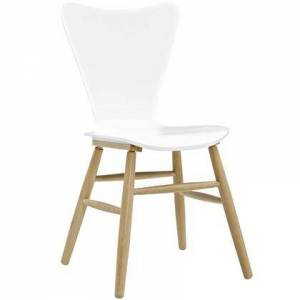 Cascade Collection EEI-2672-WHI Dining Chair with Splayed Dowel Beechwood Legs  Mid-Century Style  Contoured Organic Flared Back and Painted Bentwood