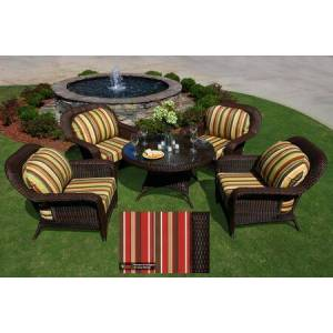 Tortuga Sea Pines Collection LEX-5LDS1-T-MONS 5-Piece Conversation Table Set with 4 Club Chairs and 1 Conversation Table in Tortoise Wicker and Monserrat