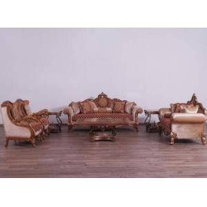 European Furniture Raffaello Collection III Luxury 3 Pieces Set with 1 Sofa + 1 Loveseat + 1 Chair  in Antique Brown Red Gold and