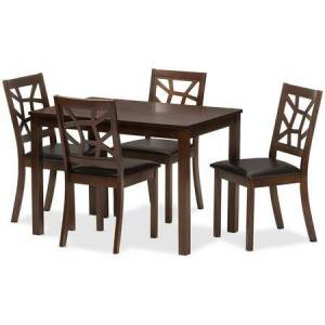 Wholesale Interiors PCH 254SQ(S3)-DT/PCH 6339-DC(4) Mozaika Black Leather Contemporary 5-Piece Dining