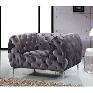 """Meridian Mercer 646GRY-C 46"""" Chair with Top Quality Velvet Upholstery  Tufting Detailing and Tuxedo Arms in"""