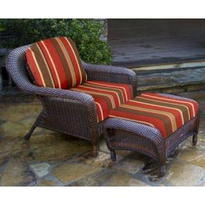 Tortuga Sea Pines Collection LEX-CO1-J-MONS Chair and Ottoman Bundle in Java Wicker and Monserrat Sangria Fabric