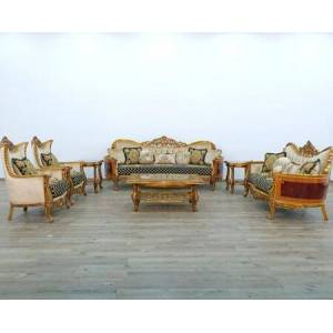European Furniture Maggiolini Collection III Luxury 3 Pieces Set with 1 Sofa + 1 Loveseat + 1 Chair  in Black Gold