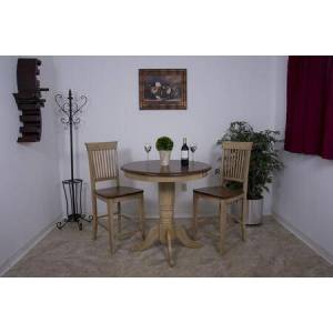 """Sunset Trading Brook Collection DLU-BR3636CB-B70-PW3PC 3 Piece 36"""" Round Pub Table Set with Fancy Slat"""
