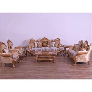European Furniture Tiziano Collection II Luxury 3 Piece Set with 1 Sofa + 1 Loveseat + 1 Chair  in Parisian Brown Light Gold and Antique