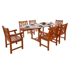 Vifah Malibu Collection V144SET7 Eco-Friendly 7-Piece Wood Outdoor Dining