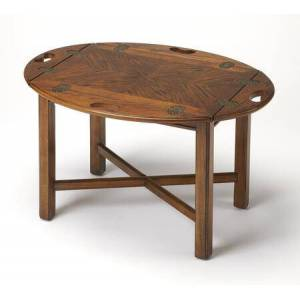 Butler Carlisle Collection 2427001 Butler Table with Traditional Style  Oval Shape  Medium Density Fiberboard (MDF) and Cherry Veneer Material in Vintage