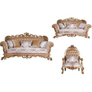European Furniture Venezia Collection Luxury 3 Pieces Set with 1 Sofa + 1 Loveseat + 1 Chair  in Antique
