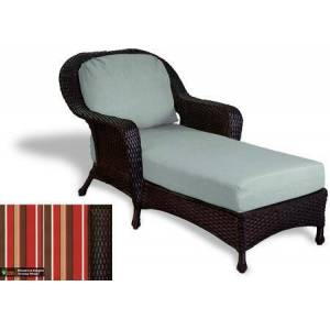 Tortuga Sea Pines Collection LEX-CL1-T-MONS Chaise Lounge in Tortoise Wicker and Monserrat Sangria Fabric