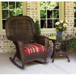 Tortuga Sea Pines Collection LEX-RT1-J-MONS Rocker and Table Bundle in Java Wicker and Monserrat Sangria Fabric