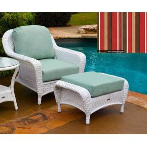 Tortuga Sea Pines Collection LEX-CO1-W-MONS Chair and Ottoman Bundle in White Wicker and Monserrat Sangria Fabric