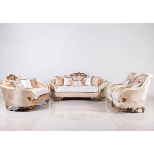 European Furniture Rosabella Collection Luxury 3 Pieces Set with 1 Sofa + 1 Loveseat + 1 Chair  in Antique Beige and Dark Gold