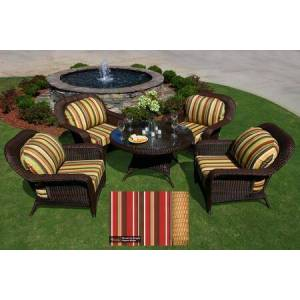 Tortuga Sea Pines Collection LEX-5LDS1-M-MONS 5-Piece Conversation Table Set with 4 Club Chairs and 1 Conversation Table in Mojave Wicker and Monserrat