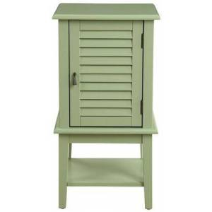 """Acme Furniture Hilda II Collection 97354 16"""" Side Table with 1 Shutter Door  2 Shelves  Tapered Legs  Square Shape  Metal Hardware  Contemporary Style and"""