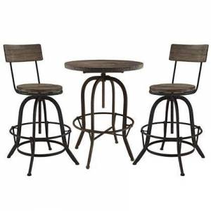 Modway Gather Collection EEI-1604-BRN-SET 3 Piece Bar Dining Set with Adjustable Height  Tapered Legs  Footrest Support  Round Shaped Table  Solid Pine Wood
